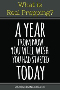 A year from now you will wish you had started to prep today